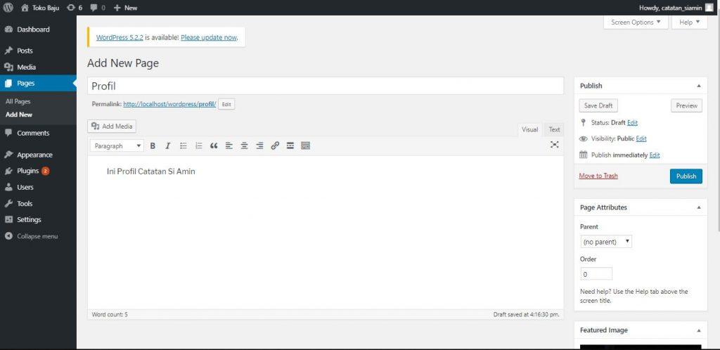 Cara Membuat Menu WordPress
