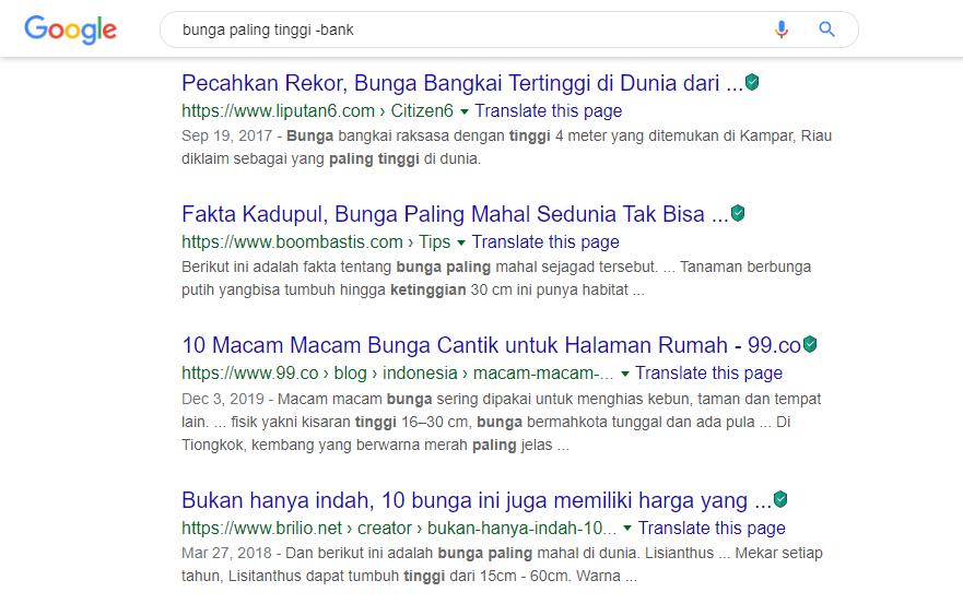 Operator Pencarian Google - Operator strip