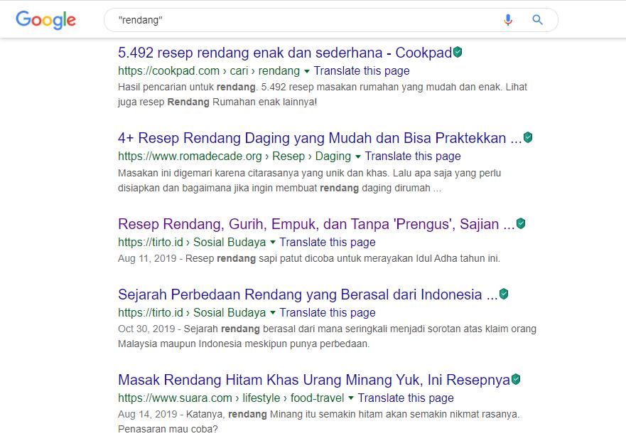 Operator Google: Operator tanda kutip